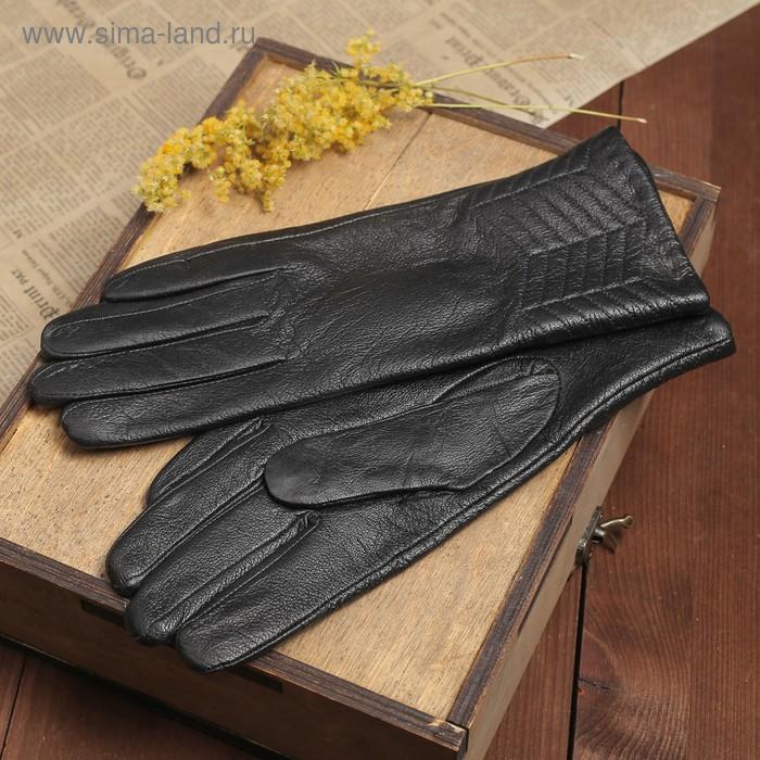 """Перчатки женские """"Калеопа"""" прошивка, подклад трикотаж, р-р 8,5, длина-24,5см, черный"""
