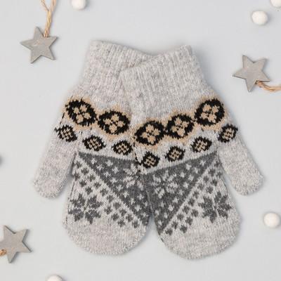 """Варежки молодёжные """"Снежинки"""", размер 16, цвет светло-серый 65529"""