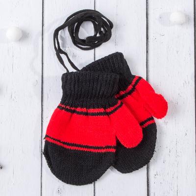 """Варежки с подкладом детские """"Танечка"""", размер 12, цвет красный/чёрный 58874"""