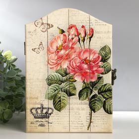 """Ключница дерево 4 крючка """"Розовые пионы. Корона"""" 22,5х15,5х5 см"""