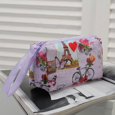 """Косметичка-сумочка """"Города"""", отдел на молнии, с ручкой, цвет сиреневый"""