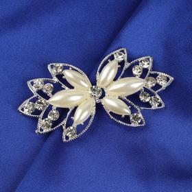 Декоративная застёжка с камнями, цвет белый