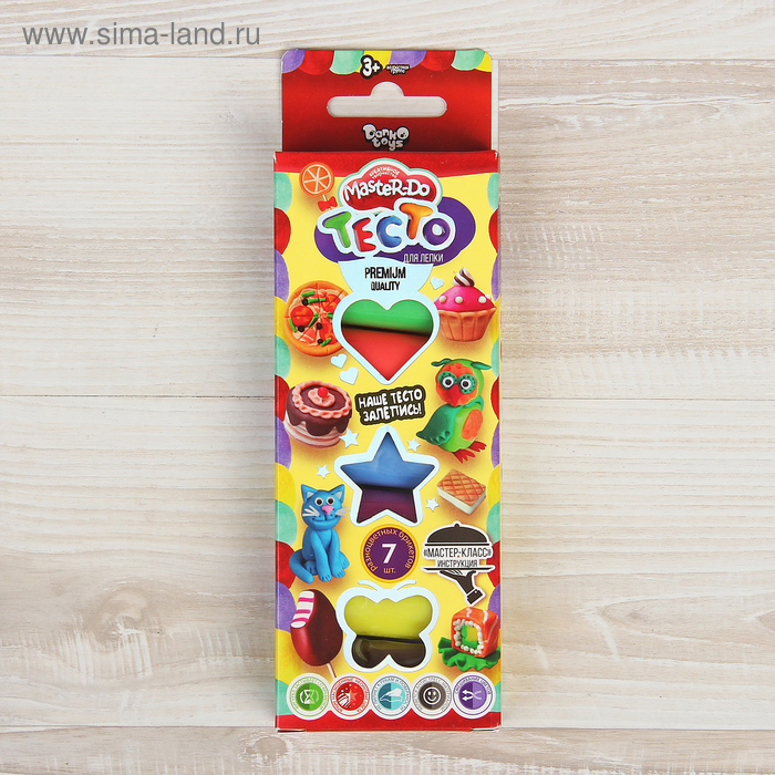 Набор для творчества «Тесто для лепки» MASTER DO, коробка эконом 7 цветов Danko Toys