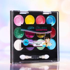 Набор косметики для девочки тени 4,6 гр, тени с блестками 4,6 гр, блеск для губ 4,6 г, аппликатор