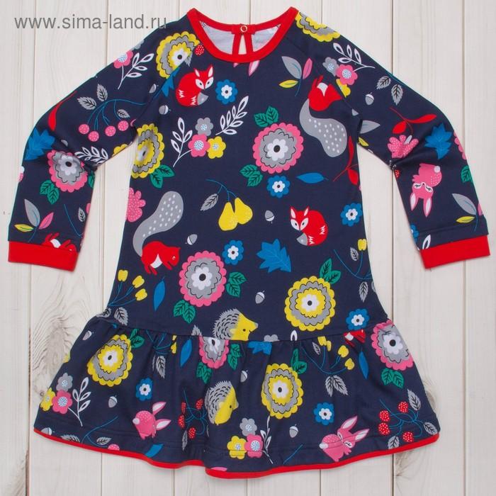 Платье для девочки, рост 128 (32) см, цвет синий/красный И-031/2
