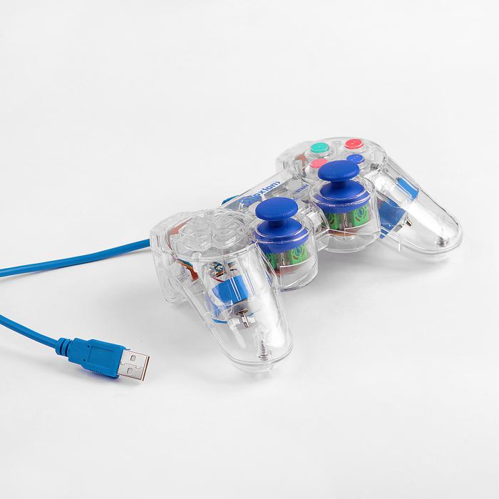 Проводной USB геймпад Oxion OGP02BL с вибрацией и LED подсветкой, 1.5м, синий (OGP02BL)