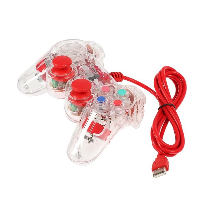 Проводной USB геймпад Oxion OGP02RD с вибрацией и LED подсветкой, 1.5м, красный (OGP02RD)