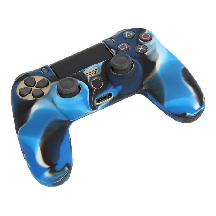 Силиконовый чехол для PS4 Oxion OSC02BLM, синий камуфляжный (OSC02BLM)