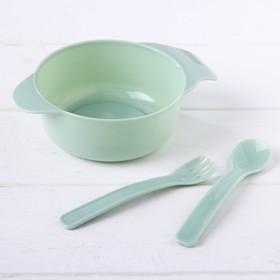 Набор детской посуды, 3 предмета: миска 300 мл, ложка, вилка, от 5 мес., цвет зелёный Ош