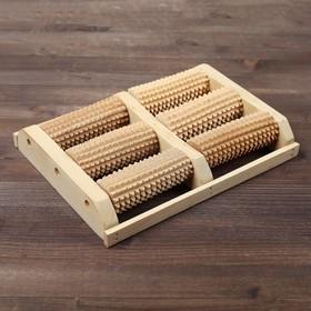 Массажер деревянный для двух стоп, 6 валиков, бук