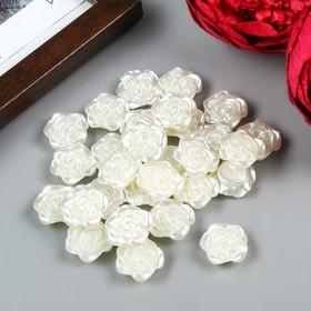 """Декор для творчества пластик """"Роза"""" жемчужный набор 30 шт 1,8х1,8 см"""