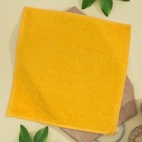 Салфетка махровая 30х30 см, цвет ярко-желтый, пл. 380 гр/м2, 100% хлопок Ош