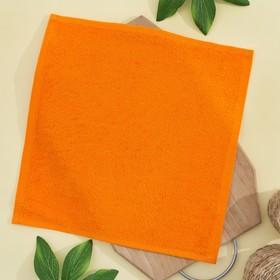 Салфетка махровая 30х30 см, цвет апельсиновый, пл. 380 гр/м2, 100% хлопок Ош