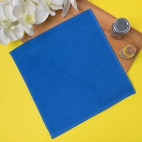 Салфетка махровая 30х30 см, цвет ярко-голубой, пл. 380 гр/м2, 100% хлопок Ош