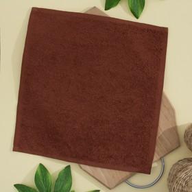 Салфетка махровая 30х30 см, цвет шоколадный, пл. 380 гр/м2, 100% хлопок Ош