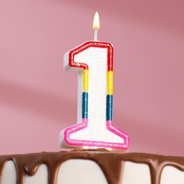 """Свеча восковая для торта с блестками """"Блестящий ободок"""" цифра 1"""