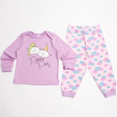 Пижама для девочки, рост 62 см, цвет светло-розовый/лиловый 9122_М