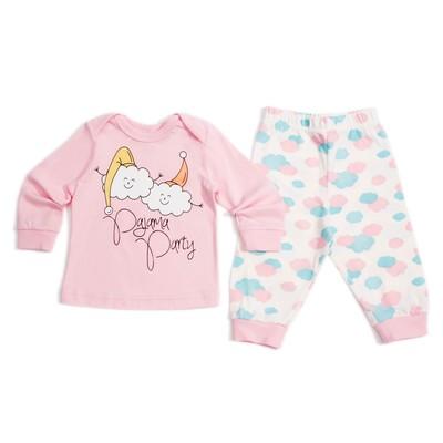 Пижама для девочки, рост 62 см, цвет бежевый/розовый 9122_М