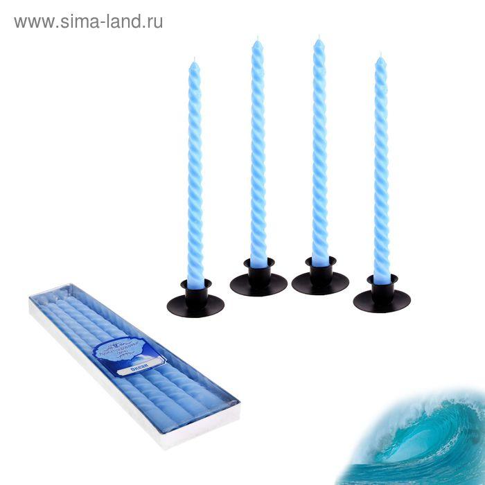 Свечи восковые витые (набор 4 шт), аромат океан