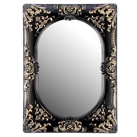 Зеркало настенное классика прямоуг овал с прямоуг краями черное золото под металл 40*30 см