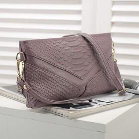 Клатч женский, 1 отдел с перегородкой, наружный карман, ручка, длинный ремень, цвет сиреневый