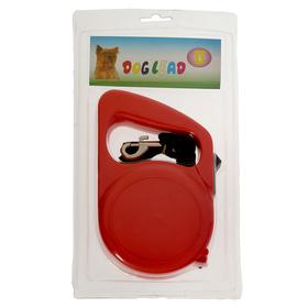 Рулетка для собак, 0,5м лента+4,5м трос, до 30кг, пластик, МИКС ЦВЕТОВ