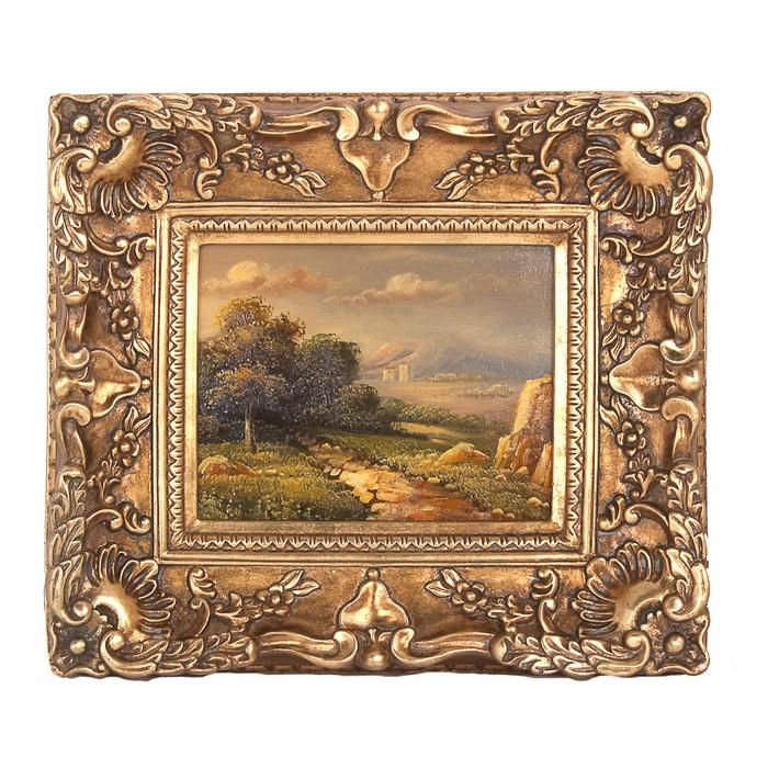 """Картина маслом (ручн. работа) """"Пейзаж"""" в резном багете"""