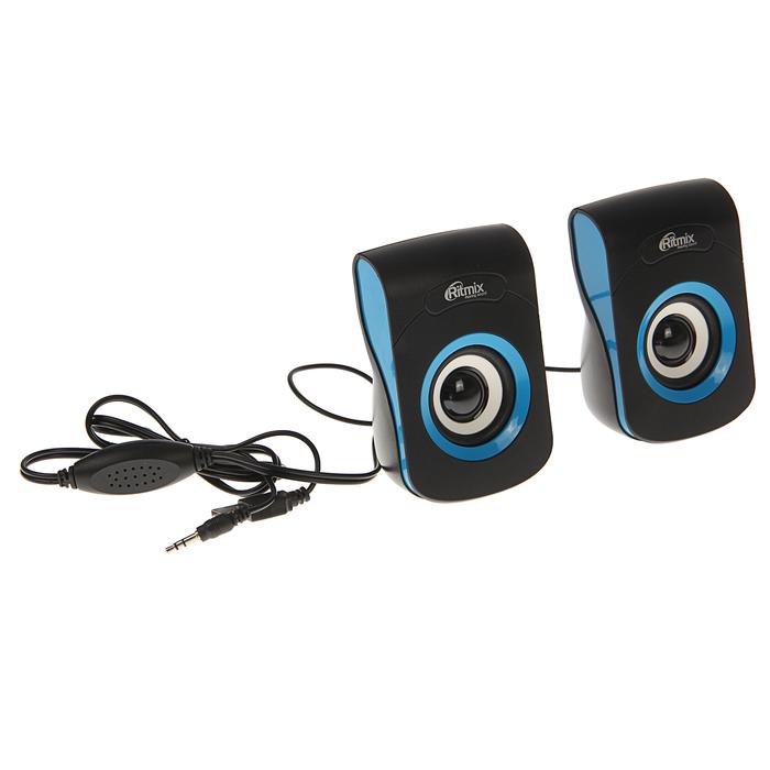Акустическая система 2.0 RITMIX SP-2060 Black-Blue, 2х3Вт, USB, черные/синие