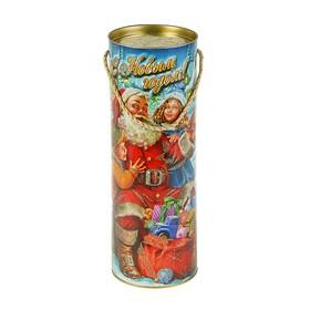 Подарочная коробка, тубус 'Санта с детьми', 12 х 34,5 см Ош