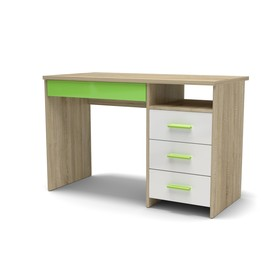 Стол письменный СП-3 Н 1152х572х740 Дуб сонома/Белый глянец/Зеленое яблоко Ош