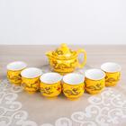 """Набор для чайной церемонии """"Дракон"""", 7 предметов: чайник 350 мл, чашки 80 мл d=6 см, цвет желтый"""