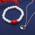 """Гарнитур 2 предмета: кулон, браслет """"Каролина"""" классика, цвет бело-красный в серебре, 40см"""