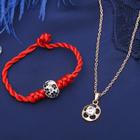 """Гарнитур 2 предмета: кулон, браслет """"Нить желаний"""" цветок, цвет красно-белый в золоте, 40см"""