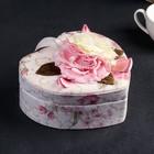 """Шкатулка ткань для украшений """"Сердце с розами"""" 6,5х17х15 см"""
