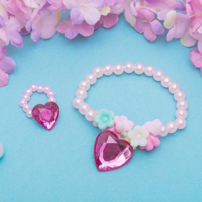 """Набор детский """"Выбражулька"""" 2 предмета: браслет, кольцо, сердечки стеклянные, цвет МИКС"""