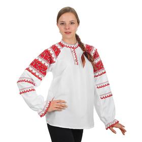 Русская народная женская рубаха, воротник-стойка, рукав реглан, р-р 48, рост 170 см Ош