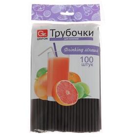 Набор трубочек для напитков 21 см Grifon, 100 шт, гофрированные, цвет черный Ош