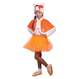 """Карнавальный костюм """"Лисичка"""", шапка, пелерина, юбка, р-р 28, рост 98-104 см"""