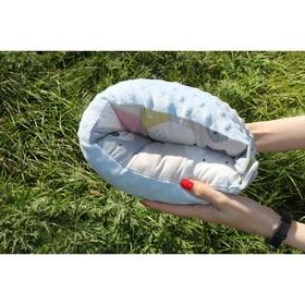 Подушка многофункциональная для кормления и укачивания  'Медвежонок', голубой плюш Ош