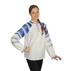 Русская народная женская рубаха, воротник-стойка, рукав реглан, с синей тесьмой, р-р 42, рост 170 см