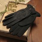 Перчатки мужские, размер 12, застрочки, зигзаг, подклад флис, цвет чёрный
