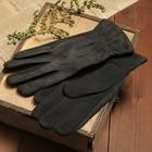 Перчатки мужские, размер 11, гладкие, резинка, зигзаг, подклад флис, цвет чёрный