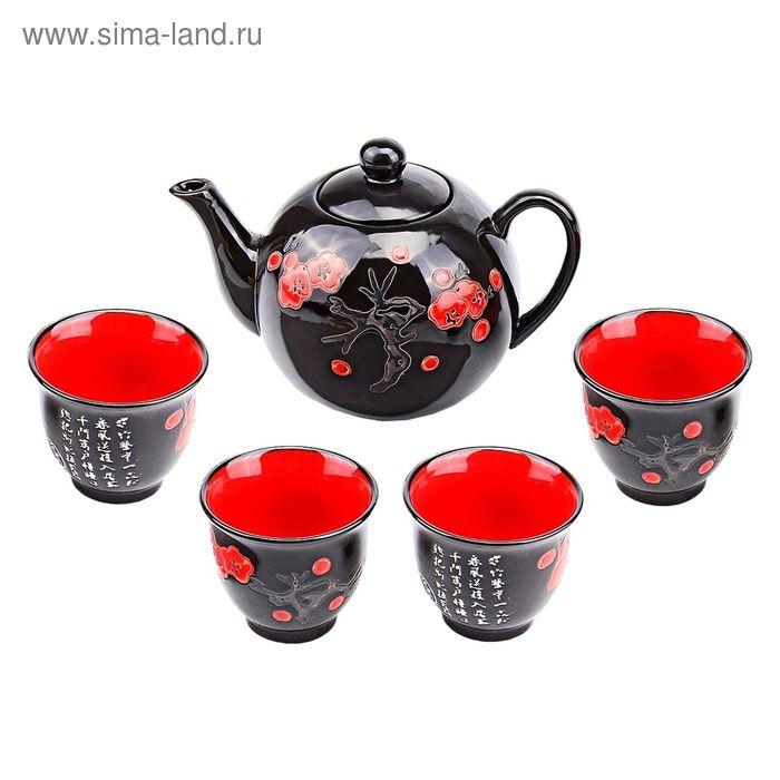 """Набор для чайной церемонии 5 предметов """"Сакура на черном"""" (чайник 600 мл, чашка 70 мл)"""