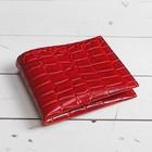 Кошелёк женский, 3 отдела, для карт, крокодил, цвет красный