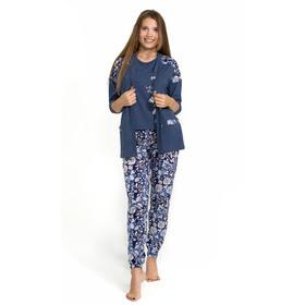 Комплект женский (халат, майка, брюки) ПК-36 цвет синий, р-р 46