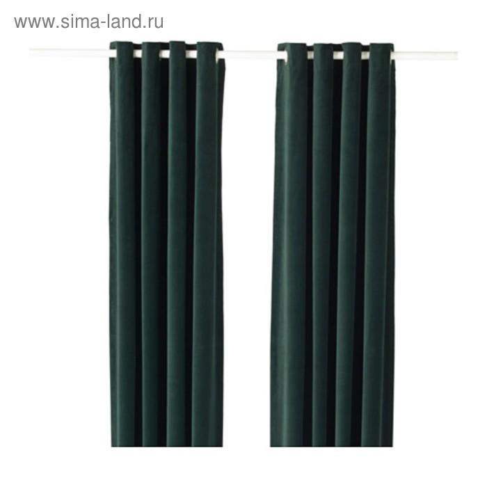 Гардины САНЕЛА, размер 140х300 см, цвет тёмно-зелёный