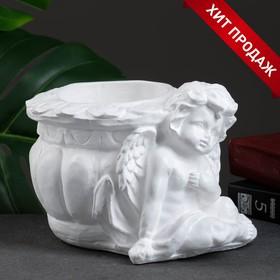 """Фигурное кашпо """"Ангел карапуз"""" белый 15х19х14см"""