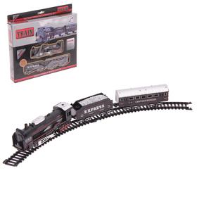 """Железная дорога """"Грузовой локомотив"""", работает от батареек, протяжённость пути 210 см"""