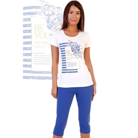 Комплект женский (футболка, бриджи) Лотерея цвет МИКС, р-р 42