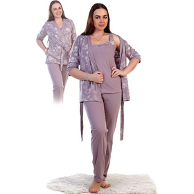 Комплект женский (кофта, майка, брюки) Унисон цвет шоколад, р-р 42